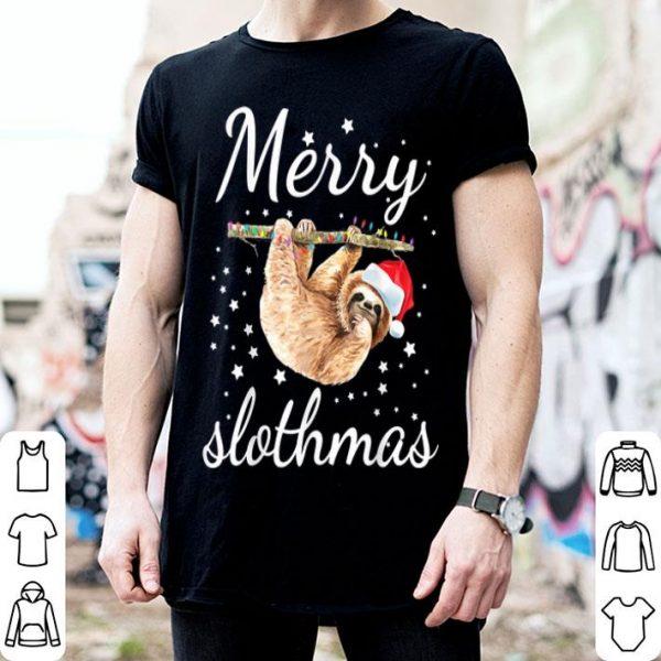 Official Merry Slothmas Christmas Pajama Sloth Lovers Xmas Gifts Tee shirt