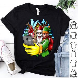 Original Santa Elf Reindeer Selfie Christmas Friends Group shirt
