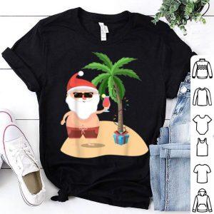 Premium Funny Beach Cruise Santa Palm Merry Christmas Xmas Gift Tee shirt