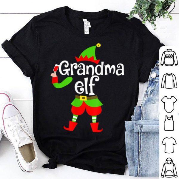 Premium Grandma Elf Wine Lover Christmas Xmas Gift For Drinker shirt