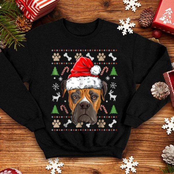 Pretty Boxer Ugly Christmas Santa Hat Xmas Dog Boys Girls Tee sweater