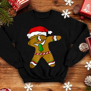 Pretty Dabbing Gingerbread Necktie Funny Xmas Holiday Pun shirt