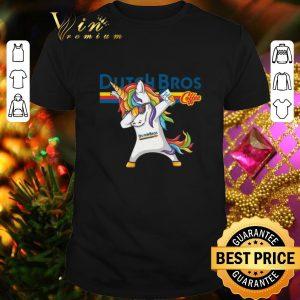 Pretty Dabbing unicorn Dutch Bros Coffee shirt