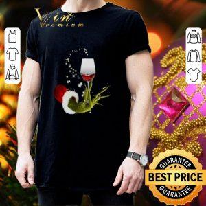 Pretty Glitter Grinch holding wine glass Christmas shirt 2