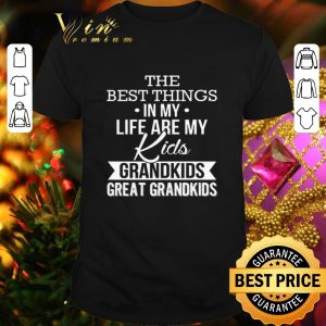 Pretty The best things in my life are my kids grandkids great grandkids shirt