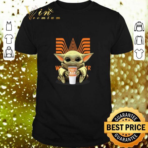 Awesome Baby Yoda hold Whataburger Logo Star Wars shirt