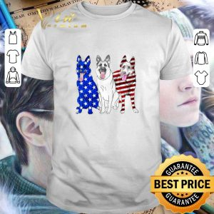 Awesome German Shepherd Red white and blue American flag shirt
