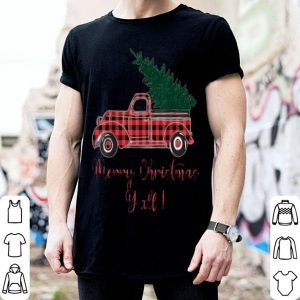 Awesome Merry Christmas Y'all Costume Red Plaid Truck Xmas Tree sweater
