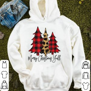 Beautiful Merry Christmas Ya'll Buffalo Plaid Leopard Christmas Tree sweater