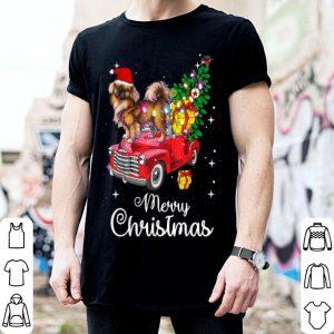 Beautiful Pekingese Rides Red Truck Christmas Pajama sweater