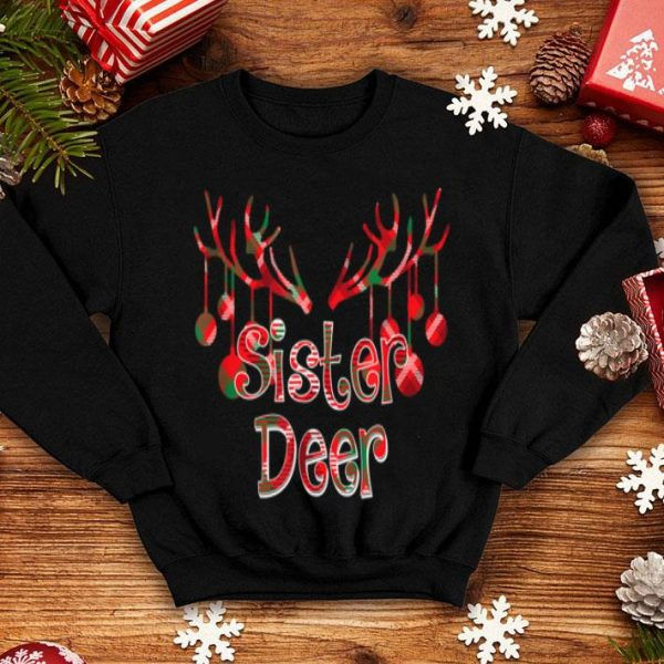 Beautiful Red Plaid Sister Reindeer Deer Buffalo Xmas Pajama sweater