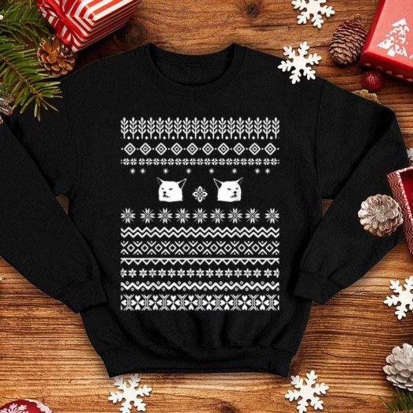 Official Christmas Ugly Sweater Table dinner cat dank meme funny Xmas sweater