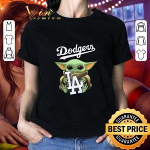 Pretty Baby Yoda hug Los Angeles Dodgers Star Wars Mandalorian shirt