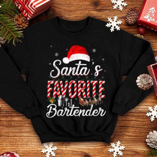 Pretty Santa's Favorite Bartender Santa Christmas Hat In Snow sweater