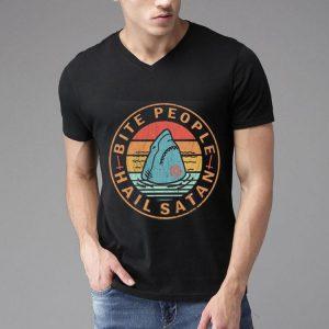 Bite People Hail Satan Shark Retro Vintage shirt