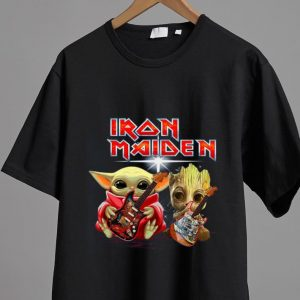 Pretty Baby Yoda And Baby Groot Play Guitar Iron Maiden shirt