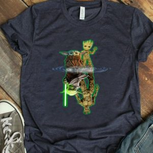 Baby Yoda And Baby Groot Water Reflection Master Yoda And Grootshirt