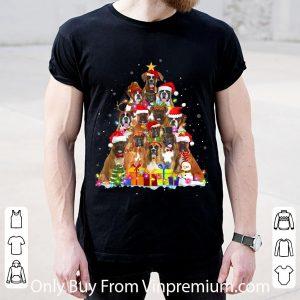 Great Christmas Pajama Boxer Tree Xmas Dog Dad Mom shirt