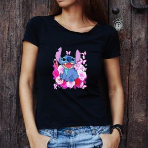 Awesome Stitch Roses And Butterflies Disney shirt