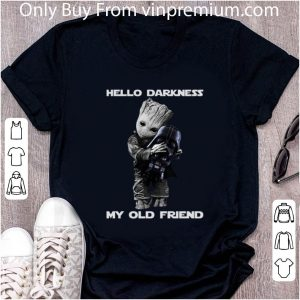 Awesome Baby Groot hugs Darth Vader Hello Darkness My old friend shirt