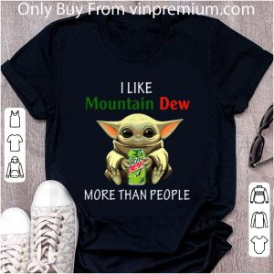 Awesome Baby Yoda I like Mountain Dew More than people shirt