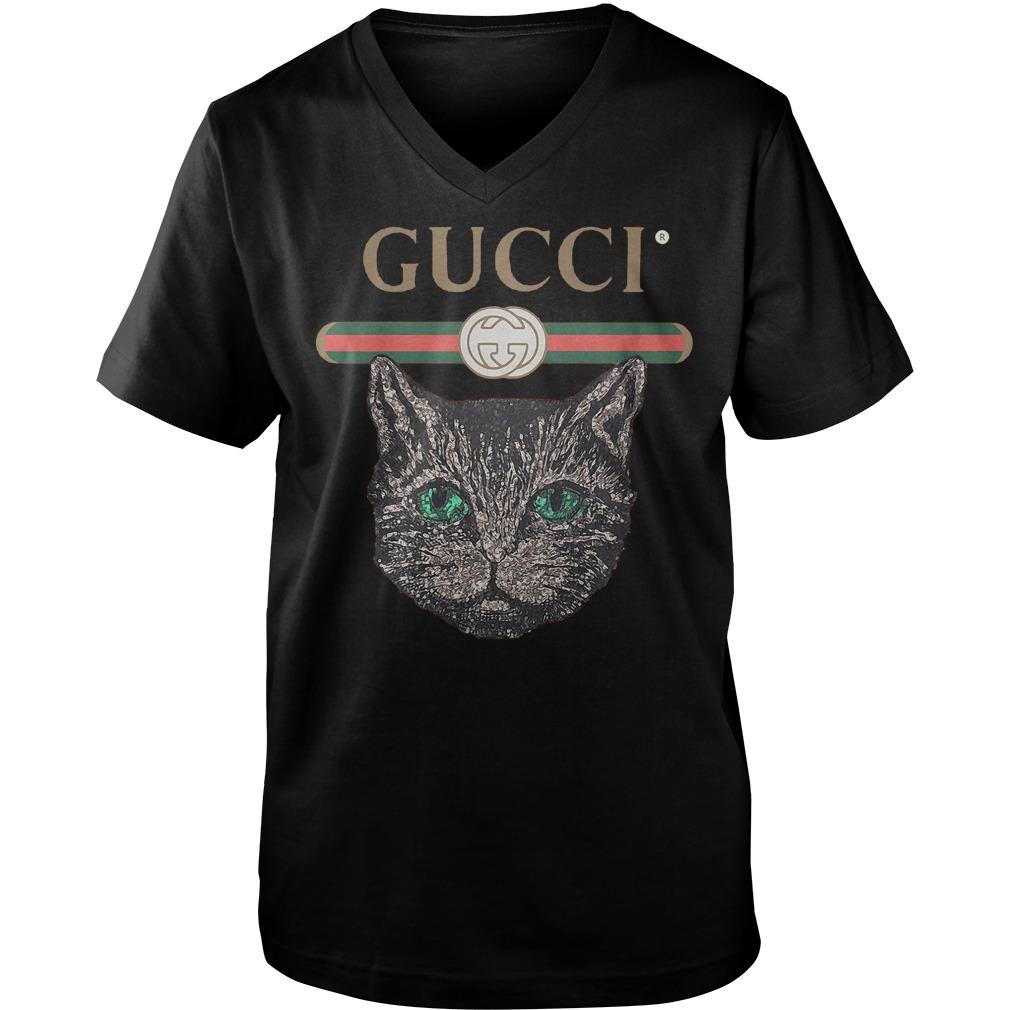 Gucci Logo Mashup With Mystic Cat T-Shirt Guys V-Neck