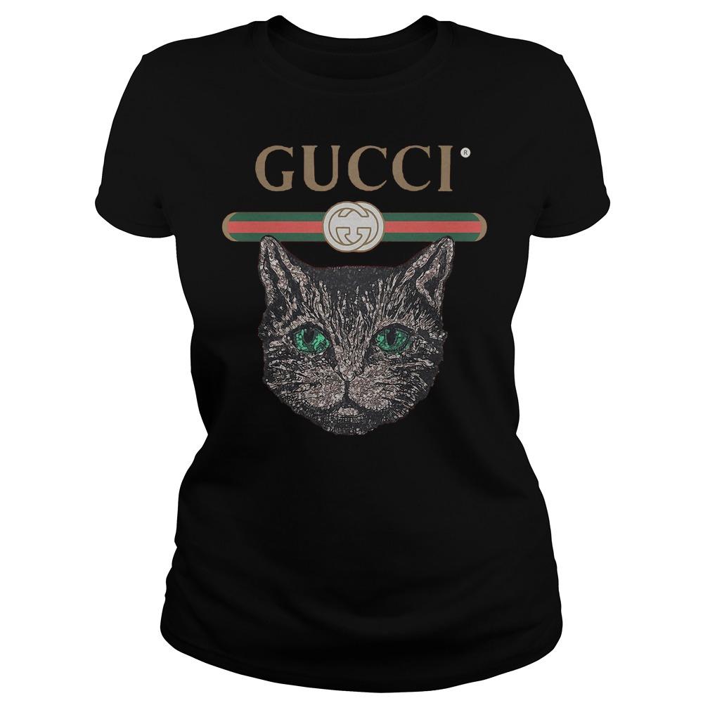 Gucci Logo Mashup With Mystic Cat T-Shirt Ladies Tee