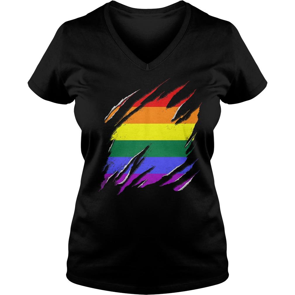 Official LGBT Flag T-Shirt Ladies V-Neck