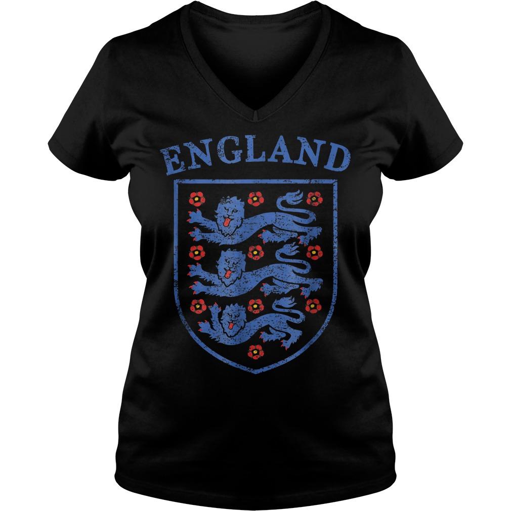Vintage England Lions World Soccer Team Russia 2018 T-Shirt Ladies V-Neck