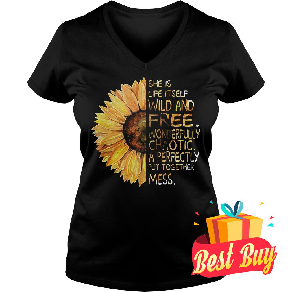 Official Sunflower She is life itself wild and free shirt Ladies V-Neck