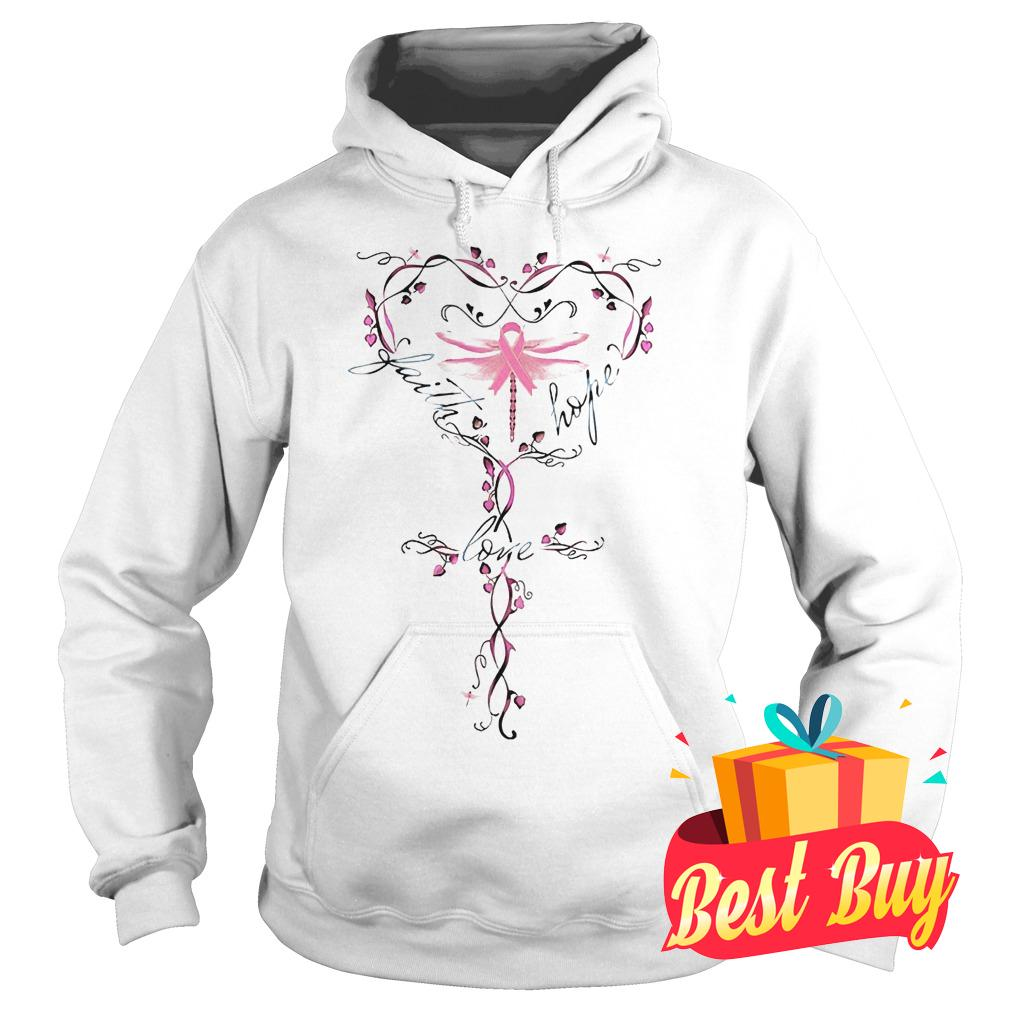 Original Breast Cancer dragon fly faith hope love shirt Hoodie