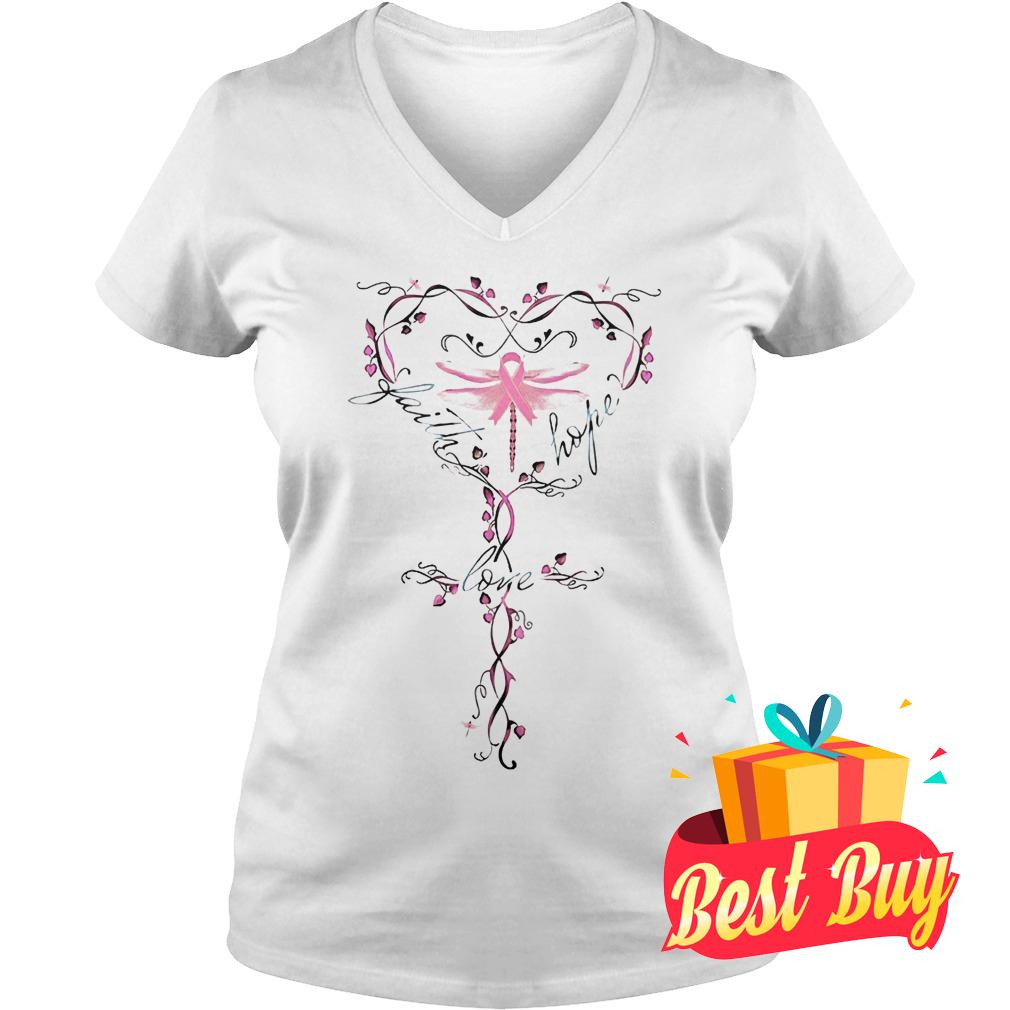 Original Breast Cancer dragon fly faith hope love shirt Ladies V-Neck
