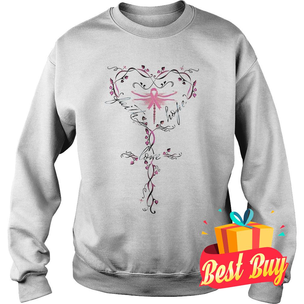 Original Breast Cancer dragon fly faith hope love shirt Sweatshirt Unisex