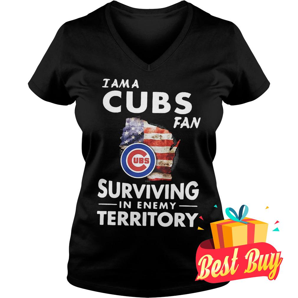 Premium Chicago Cubs I am a Cubs fan surviving in enemy territory shirt Ladies V-Neck