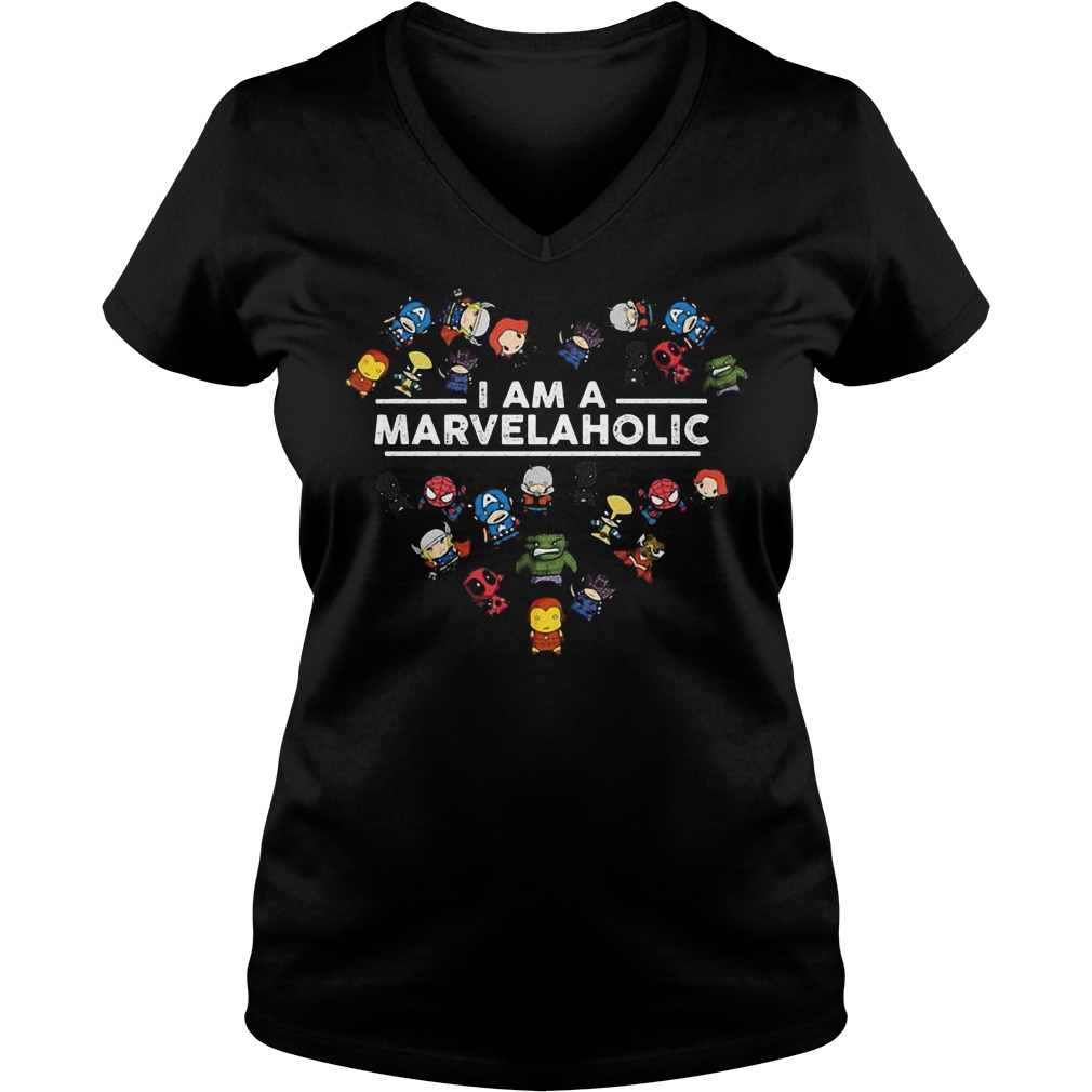 Marvel character chibi I am a marvelaholic Shirt Ladies V-Neck