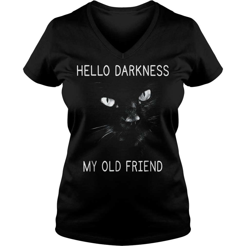 Official Hello darkness black cat my old friend T-Shirt Ladies V-Neck