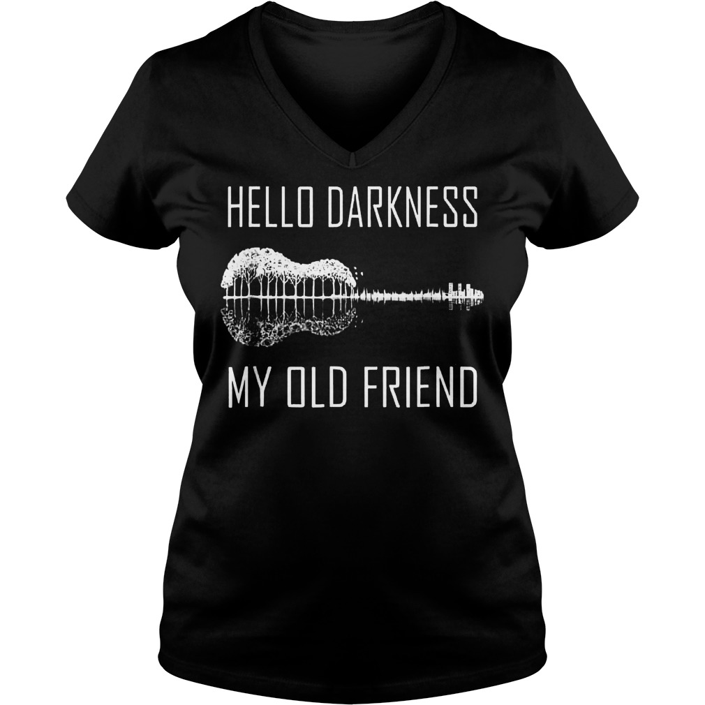 Official Hello darkness guitar my old friend T-Shirt Ladies V-Neck
