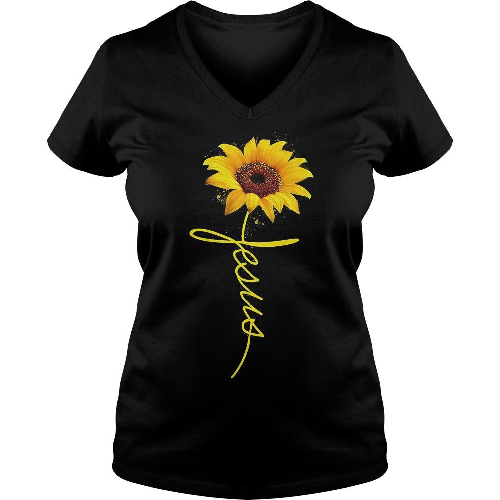 Sunflower Jesus Shirt Ladies V-Neck
