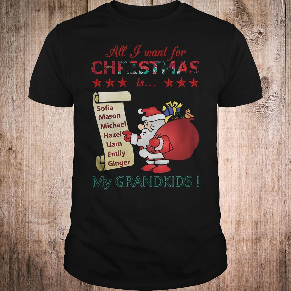 Best Price All I Want For Christmas Is Sofia Mason Michael Hazel Liam Emily Ginger My Grandkids Shirt