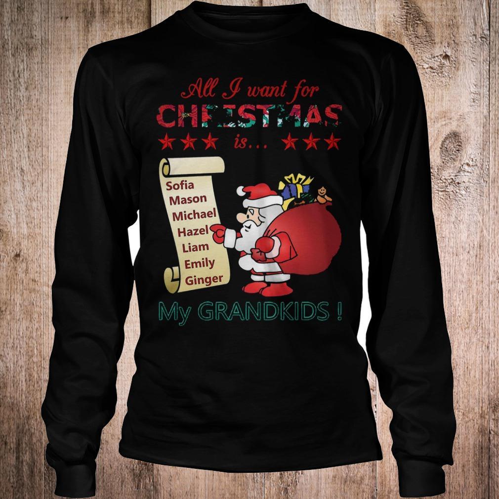 Best Price All i want for Christmas is Sofia Mason Michael Hazel Liam Emily Ginger my grandkids shirt Longsleeve Tee Unisex