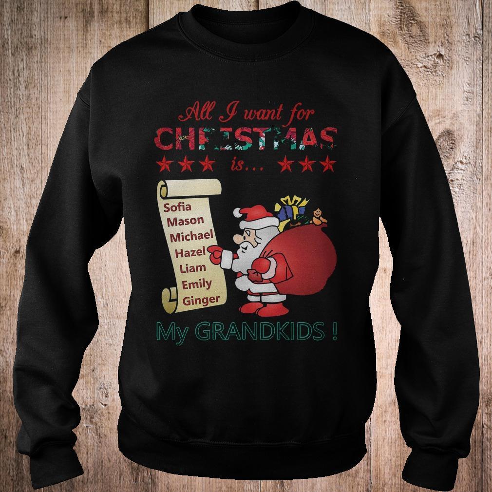 Best Price All i want for Christmas is Sofia Mason Michael Hazel Liam Emily Ginger my grandkids shirt Sweatshirt Unisex