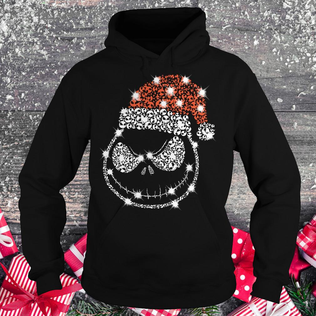 Best price Christmas Rhinestone Jack Skellington with Santa hat Hoodie