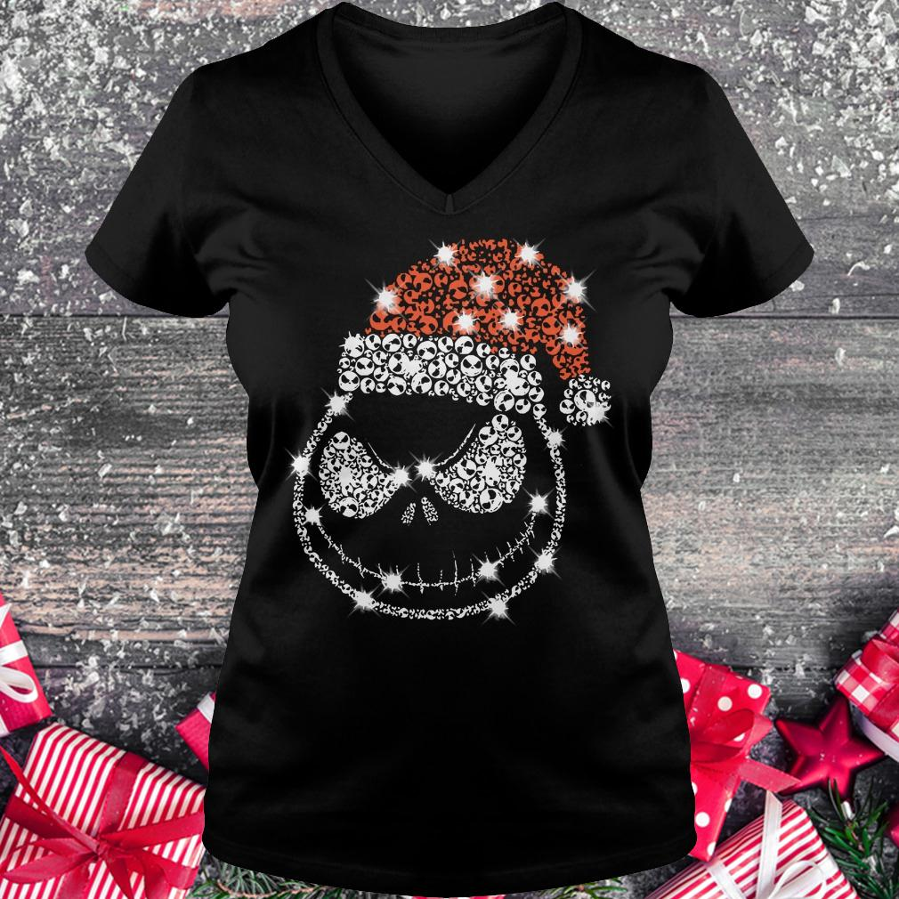 Best price Christmas Rhinestone Jack Skellington with Santa hat Ladies V-Neck