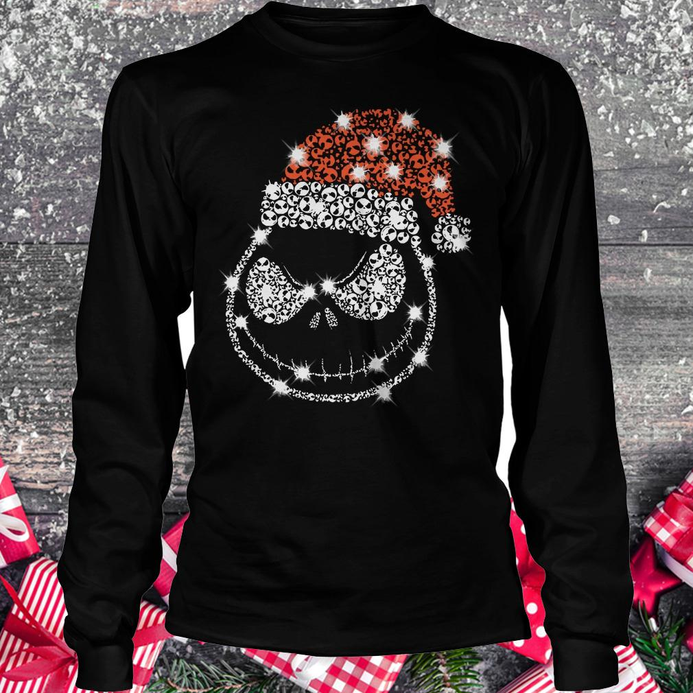 Best price Christmas Rhinestone Jack Skellington with Santa hat Longsleeve Tee Unisex