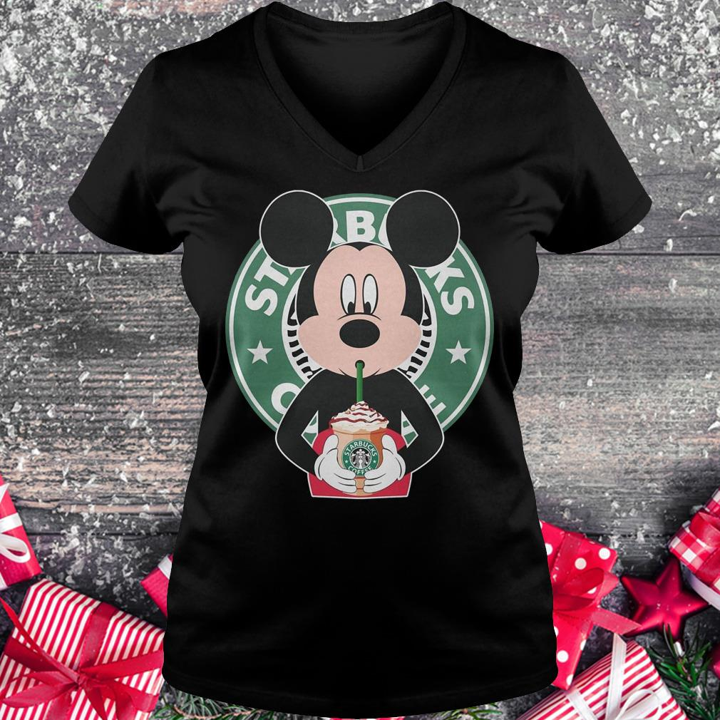 Mickey mouse drinks Starbucks coffee shirt Ladies V-Neck