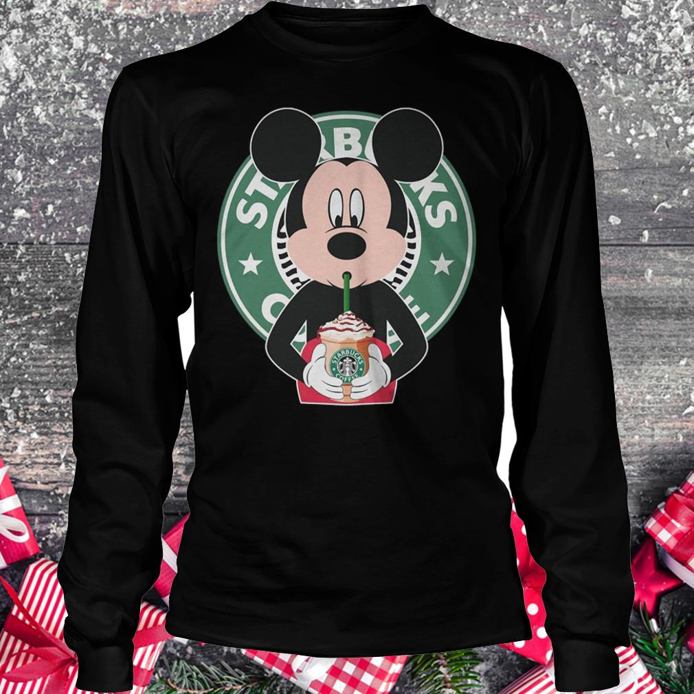 Mickey mouse drinks Starbucks coffee shirt Longsleeve Tee Unisex