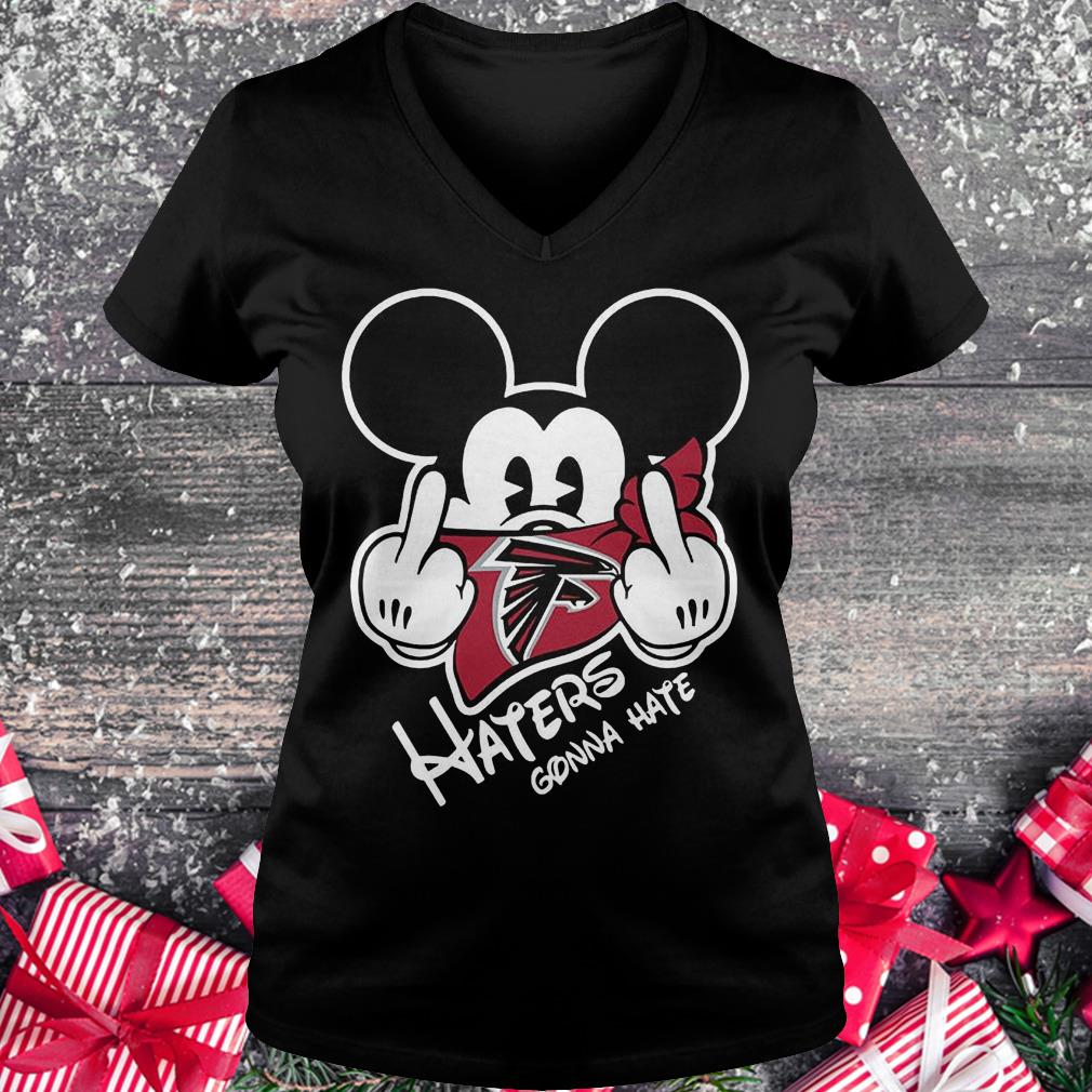 NFL Atlanta Falcons haters gonna hate Mickey Mouse Shirt Ladies V-Neck