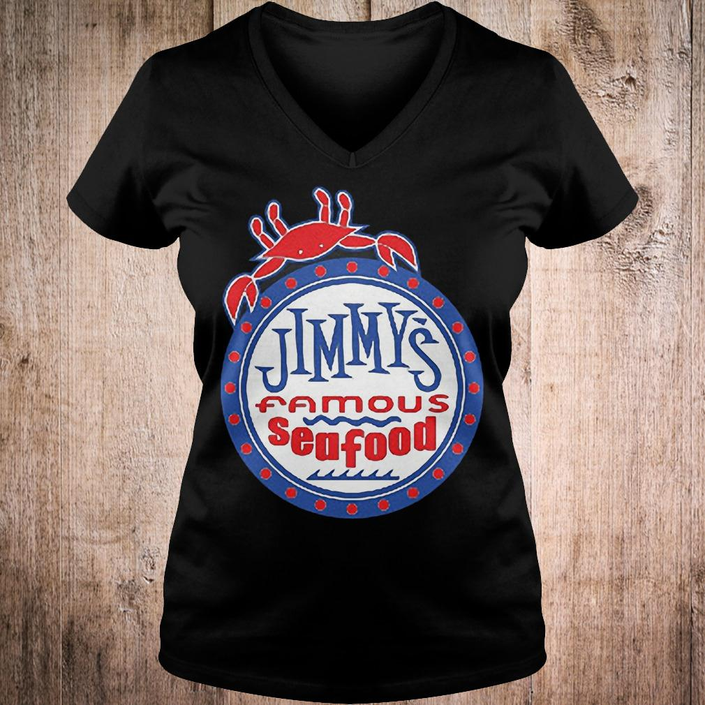 Official Jimmys famous seafood Jimmy's flag T-Shirt Ladies V-Neck