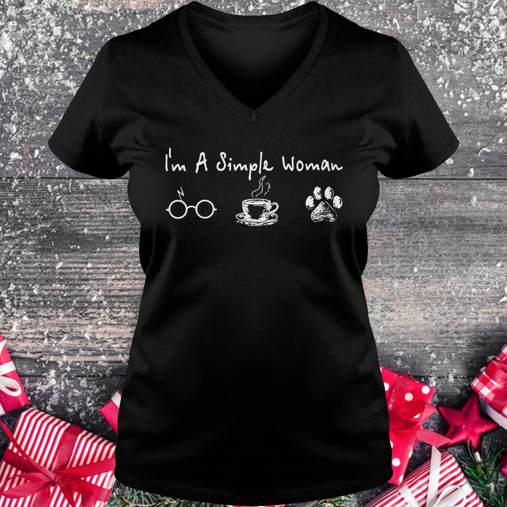 Original I'm a simple woman I like Harry Potter Coffee and Dog shirt Ladies V-Neck