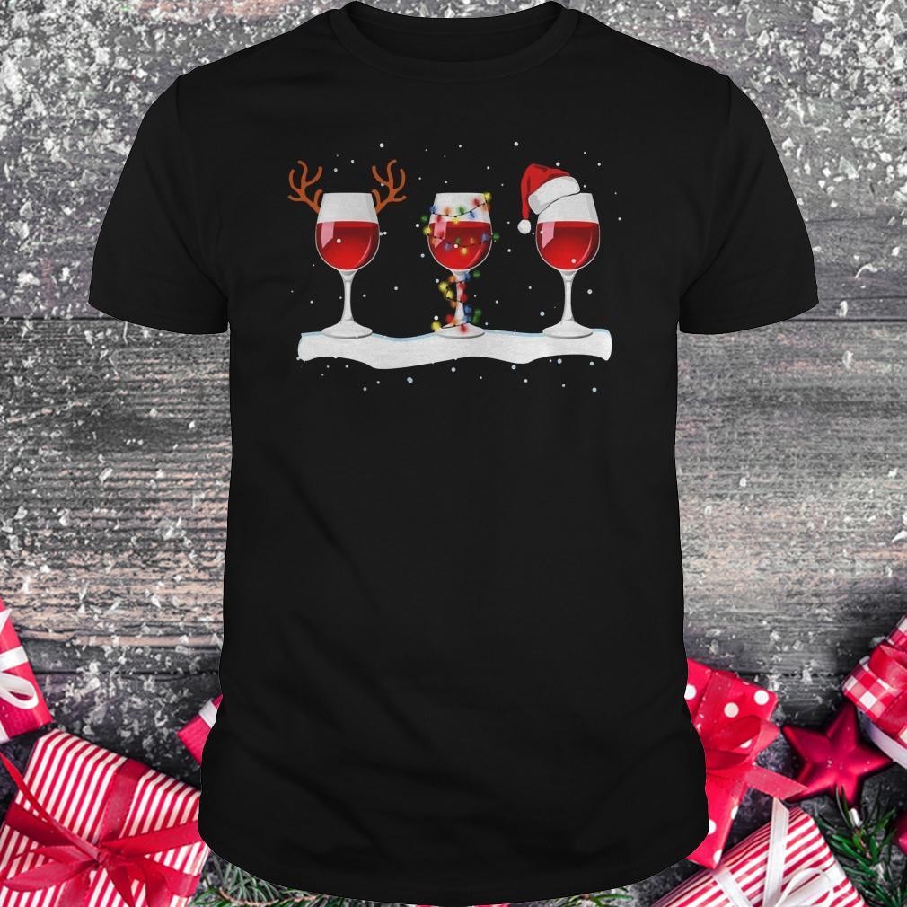 Original Three wine glasses with Christmas light, deer horn and Santa hat shirt Classic Guys / Unisex Tee